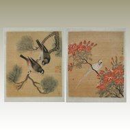 Qing Dynastie. 2 Album Leaves with Birds by Weng Xiaohai
