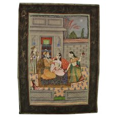 Old India: Painting on Fabrics. Scene with Lovers in a Temple