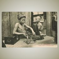 Opium Smoker in Indochina. Vintage Postcard