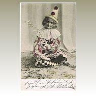Little Girl as Clown. Vintage Postcard