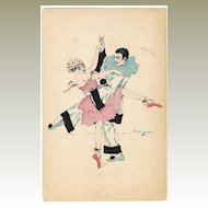 Pierrot and Colombine dancing. Art Deco Postcard 1922