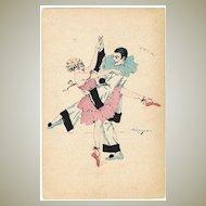 Pierrot and Colombine dancing. Art Deco Postcard 1922
