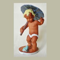 Ceramic Figurine Boy with Parasol and Frog