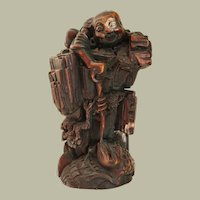 Qing Dynasty Figurine Liu Hai with Toad. Hard-Wood Carving.