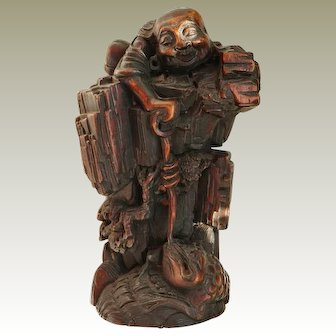 Qing Dynasty Figurine Liu Hai with Toad. Hard-Wood Carving.
