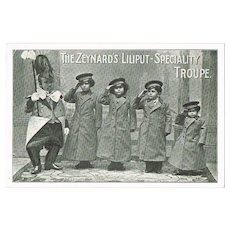 The Zeynards Liliputan Speciality Troupe. Vintage Postcard.
