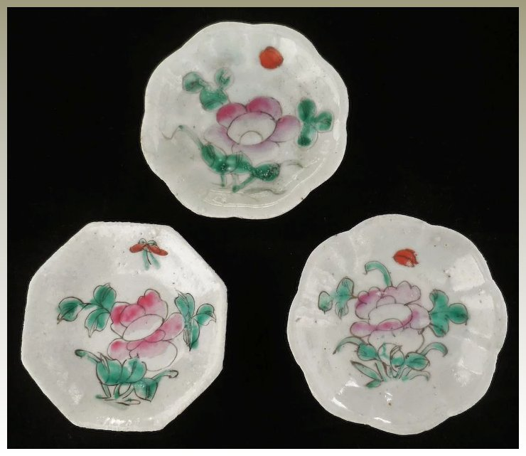 Three Antique Chinese Dishes With Fl Motifs
