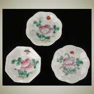 Three antique Chinese Dishes with Floral Motifs