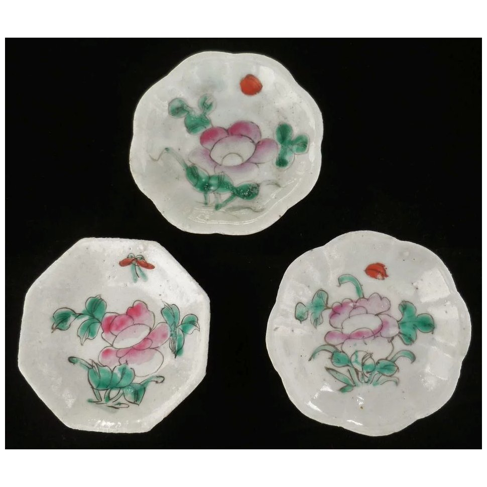 Three Antique Chinese Dishes With