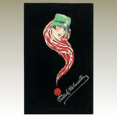 Scarce Art Deco Xmas Postcard 1929