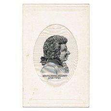 Vintage Postcard with Mozart Silk Stitchery