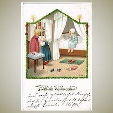 Girls with Santa, Pauli Ebner Christmas Postcard