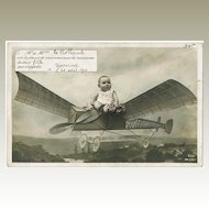 Cute Vintage Postcard Baby on Plane 1910