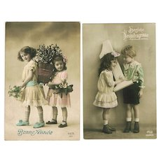 Two old New Year's Postcards with Kids