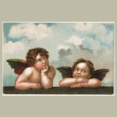 Vintage Postcard with 2 little Angels