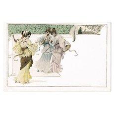 Art Nouveau Postcard Three Ladies with Music Instruments