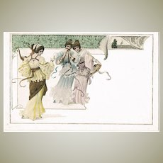 Art Nouveau Postcard Three Ladies with Music Instruments