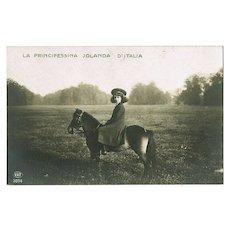 Princess Jolanda of Savoy as Child on Horseback. Old Photo Postcard
