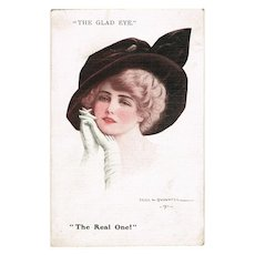 The Glad Eye. Vintage Postcard by Cecil W. Quinell, 1911