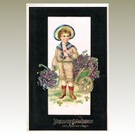Vintage Postcard with Boy, Love Letter and Violets, 1907