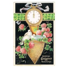 Vintage Postcard with Doves, Clover and Clock and Violets, 1907