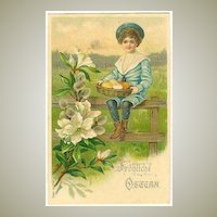 Happy Easter: Boy in Sailor's Suite, Blossoms. Litho 1906