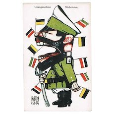 Tsar Nicholas II, Artist signed Mocking Card from WW1
