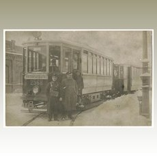 Old Trolley and Conductors. Vintage Photo Postcard