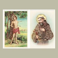 Saint Sebastian and Francis of Assisi. 2 Vintage Postcards pre-1920