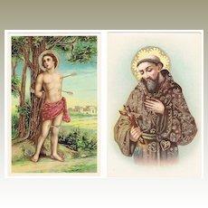 Saint Sebastian and Francis of Assisi. 2 Vintage Postcards pre-1920