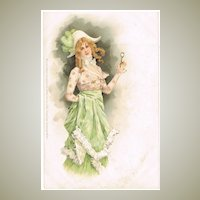 Lady in fancy Dress, Vintage postcard, lithographed