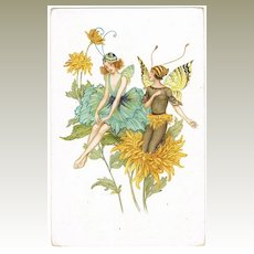 Sweet old Postcard with Elves on Flowers