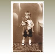 Little Boy with his Teddy Bear. Studio Photo from 1920s