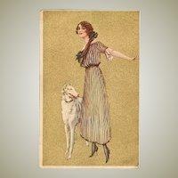 Art Deco Postcard Lady with Greyhound