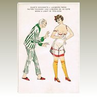 Unusual Postcard Old Man and Young Lady. Work a Light Type