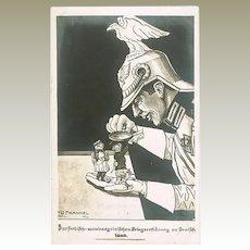 WWI Mocking Postcard Serbia declares War to Germany