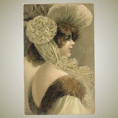 Art Nouveau Postcard Young Lady with Fancy Hat