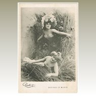 Two pretty Girls. Vintage Postcard from France, Reutlinger