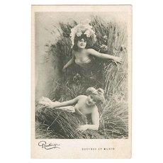 Two pretty Girls. Vintage Postcard from France, Reutlinger