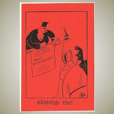 Krampus and St. Nicholas at Court Postcard 1945