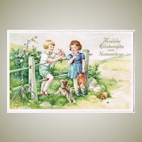 Vintage Nameday Postcard with Children