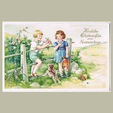 Vintage Nameday Postcard with Children