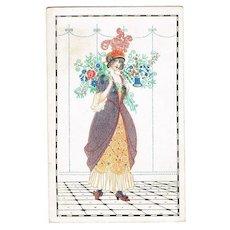 Lady with Flowers. Art Nouveau Postcard by Mela Koehler