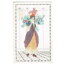 Lady with Flowers. Art Nouveau Postcard by Mela Koehler
