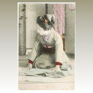 Tinted Japanese Postcard Lady in Kimono, kneeling