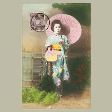 Japanese Lady with Sunshade. Tinted Postcard