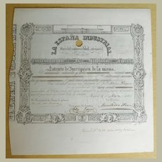 Antique Spanish Stock Certificate from 1847