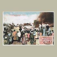 Dakar vintage Postcard Burning Village 1913