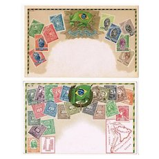 Brazil Postal History Two Postcards with Images of Stamps