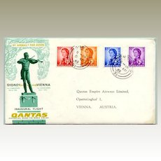 1965: Inaugural Quantas Flight Sidney - Vienna. Hong Kong stamps attached.